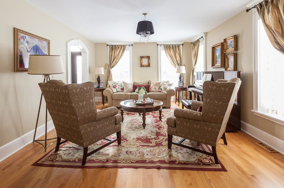 Moores Furniture for a Transitional Living Room with a Beige Curtains and My Houzz: Traditional Home with Cottage Flair by Becki Peckham