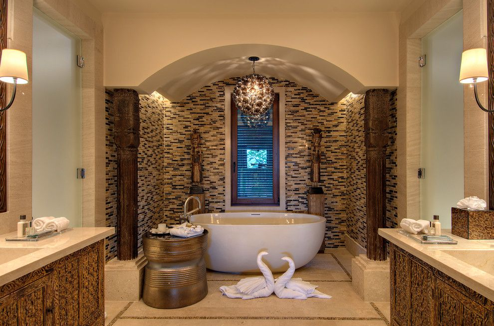 Mosaic Cafe Tucson for a Modern Bathroom with a Bronze Table and Tyrrell and Laing International, Inc. by Tyrrell and Laing International, Inc.