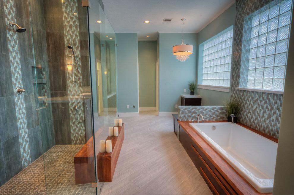 Mosaiq for a Contemporary Bathroom with a Blue Mosaic Tile Shower and Contemporary Bathroom by glendarrochhomes.com