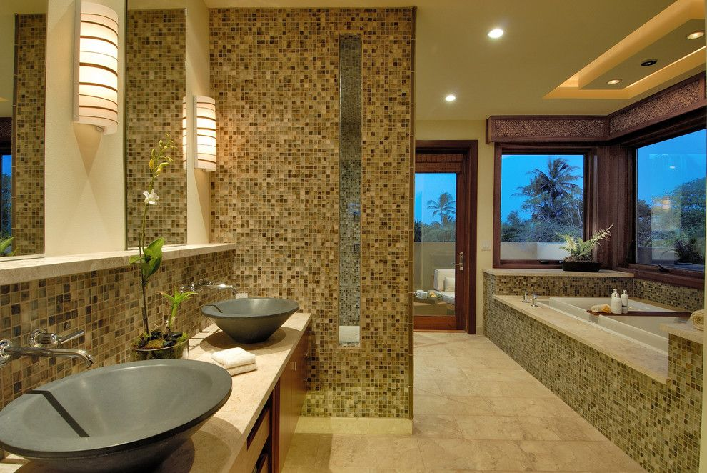 Mosaiq for a Contemporary Bathroom with a Double Sink and Ownby Design by Ownby Design