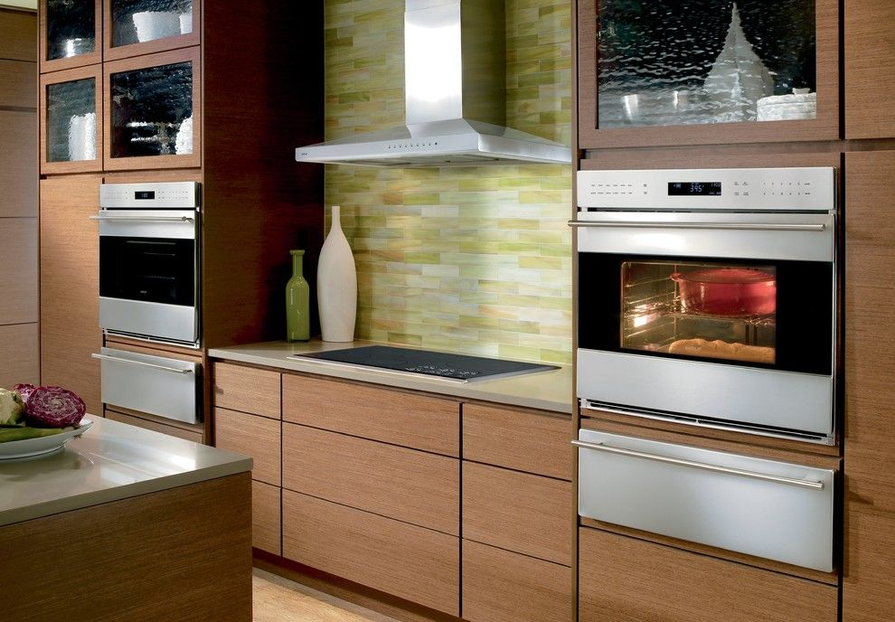 Mosaiq for a Contemporary Kitchen with a Beige Countertop and Kitchens by Sub Zero and Wolf