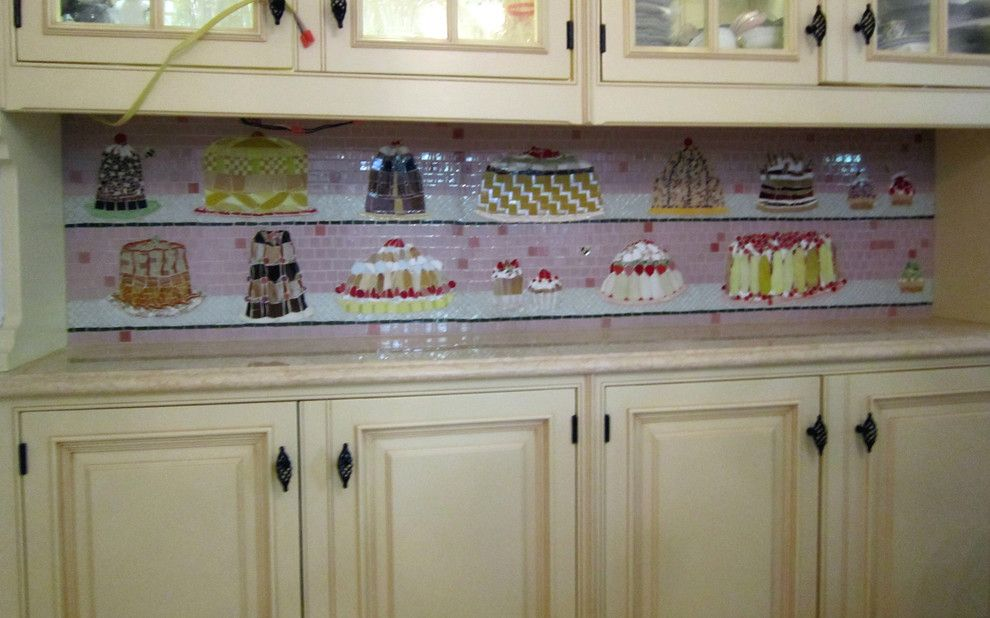Mosaiq for a Eclectic Kitchen with a Mosaic and Cakes Mosaic by Big Bang Mosaics
