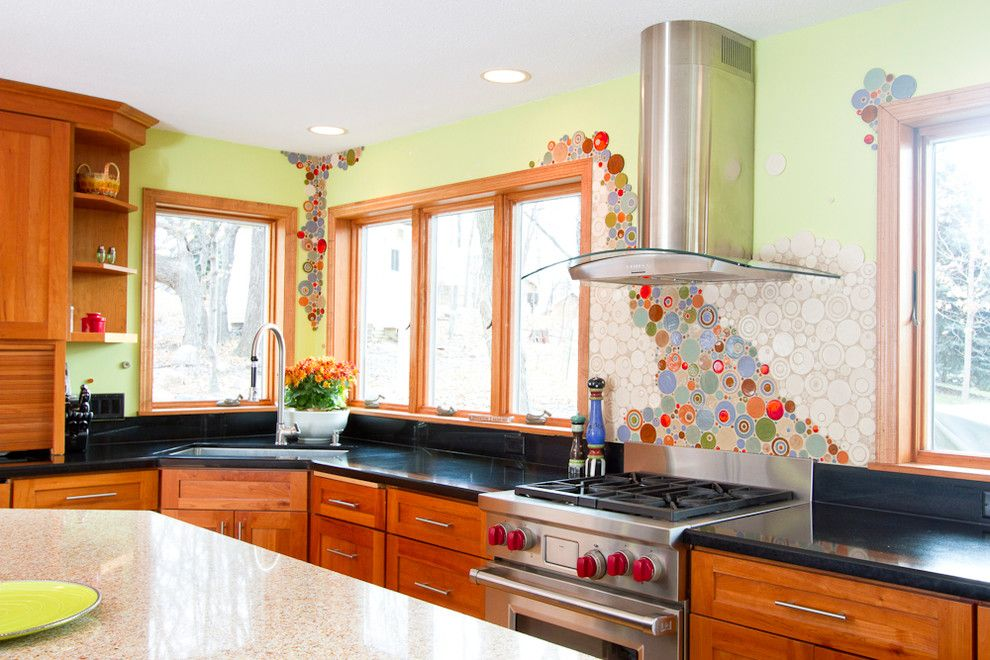 Mosaiq for a Eclectic Kitchen with a Tile and Vibrant Valencia Kitchen by Mercury Mosaics and Tile