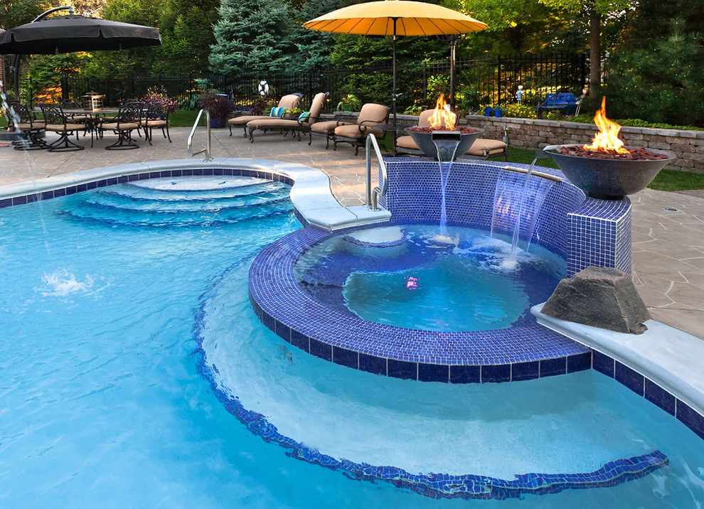 Mosaiq for a Traditional Pool with a Swimming Pool and Chicago Suburb   Oakbrook by Sunset Pools and Spas, Inc.