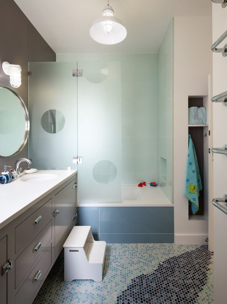 Mosart for a Contemporary Bathroom with a Footstool and Kids' Bathroom by Jeff King & Company