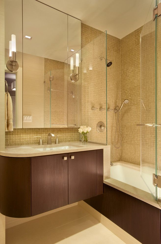 Mosart for a Contemporary Bathroom with a Mosaic Tile and 128 Central Park South by Ethelind Coblin Architect P.c
