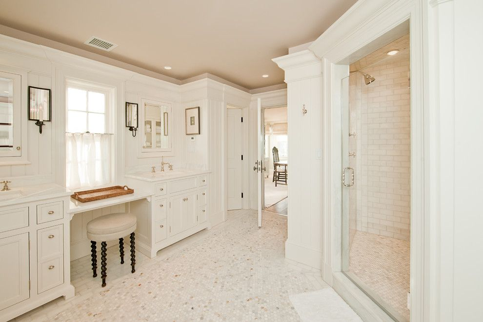 Mosart for a Traditional Bathroom with a Ceiling Lighting and Millwork by Toby Leary Fine Woodworking Inc.