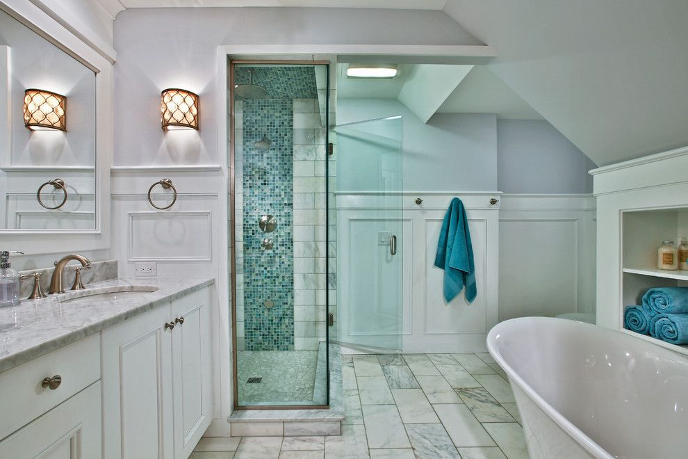 Mosart for a Transitional Bathroom with a Glass Shower and Loudonville Luxury by Teakwood Builders, Inc.