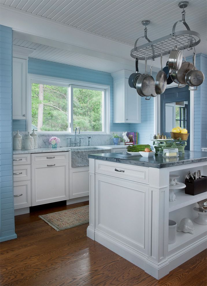 Mosey for a Farmhouse Kitchen with a Lake Views and Bright Blue Beach House by Joseph Mosey Architecture, Inc.