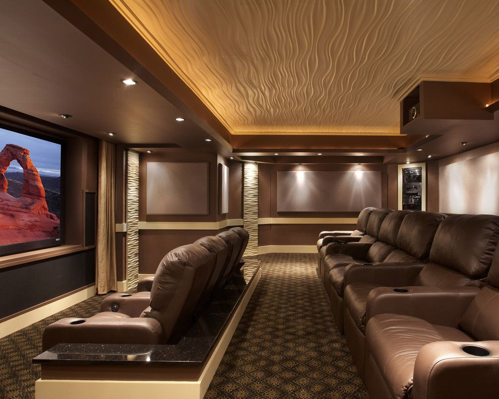 Movie Theater Clarksville Tn for a Contemporary Home Theater with a Projector Screen and Leesburg Theater by Encore Custom Audio Video