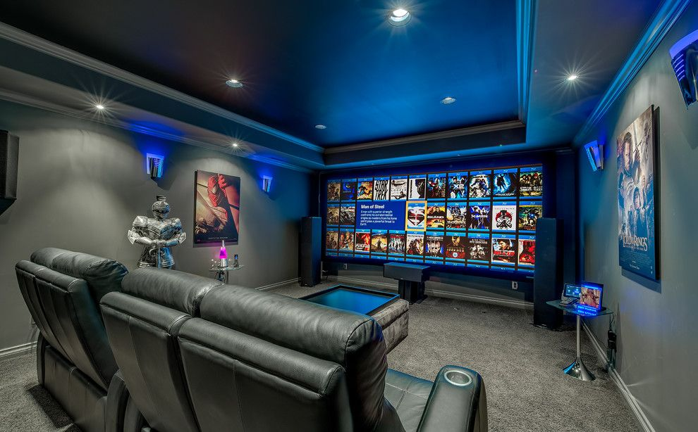 Movie Theater Clarksville Tn for a Contemporary Home Theater with a Recessed Lighting and Updated Modern Jewel Box by K&w Audio