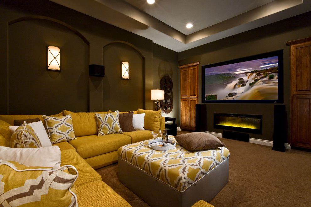 Movie Theater with Couches for a Contemporary Family Room with a Yellow Ottoman and Vintage Oaks by Jimmy Jacobs Homes