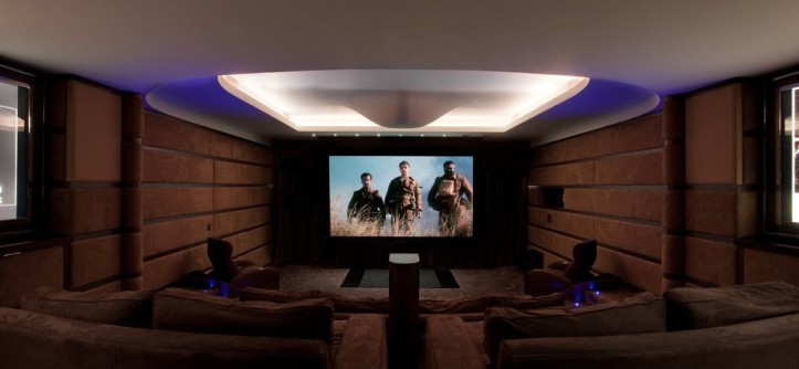 Movie Theater with Couches for a Contemporary Home Theater with a Cushy Seating and Contemporary by Mitchell Berry Architects