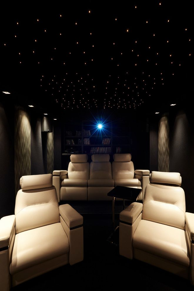 Movie Theater with Couches for a Contemporary Home Theater with a Fauteuil en Cuir Beige Cinema and Villa Saïd by Stéphanie Coutas   Mille Et Une Maisons