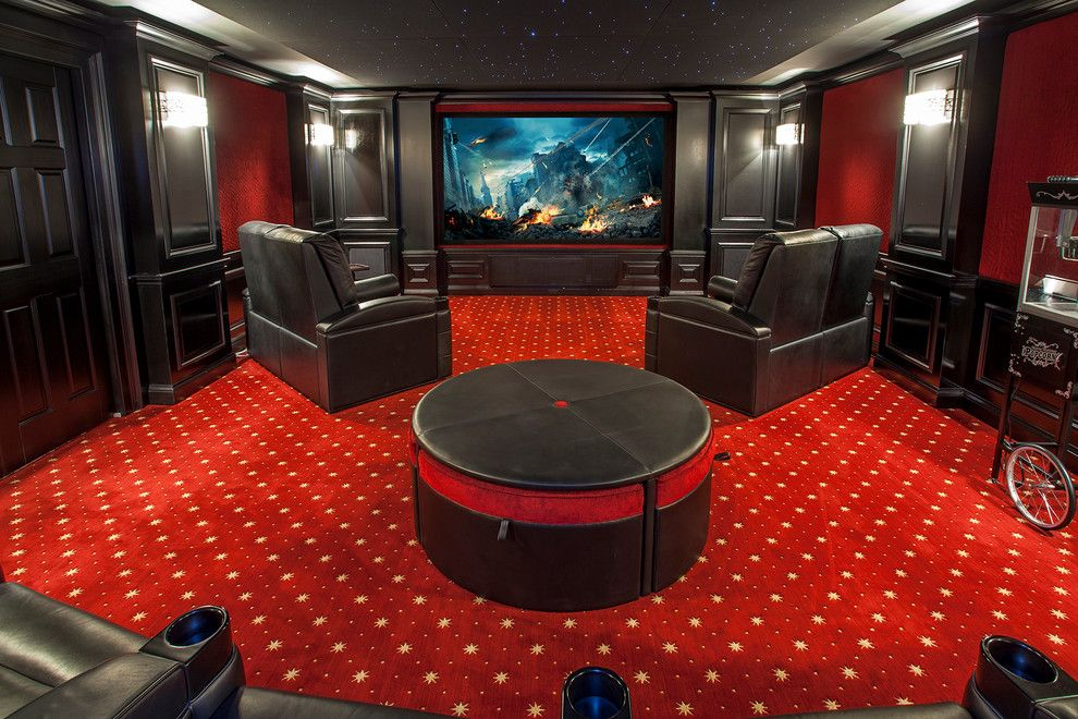 Movie Theater with Couches for a Traditional Home Theater with a Black Leather Recliner and Contemporary Interior Spaces by Grupenhof Photography