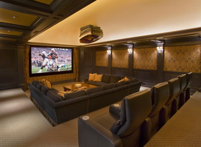 Movie Theater with Couches for a Traditional Home Theater with a Pendants and Stonehedge Farm by Catalano Architects