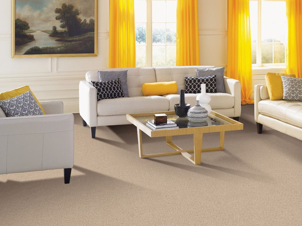 Movie Theater with Couches for a Traditional Living Room with a Pop of Yellow and Living Room by Carpet One Floor & Home
