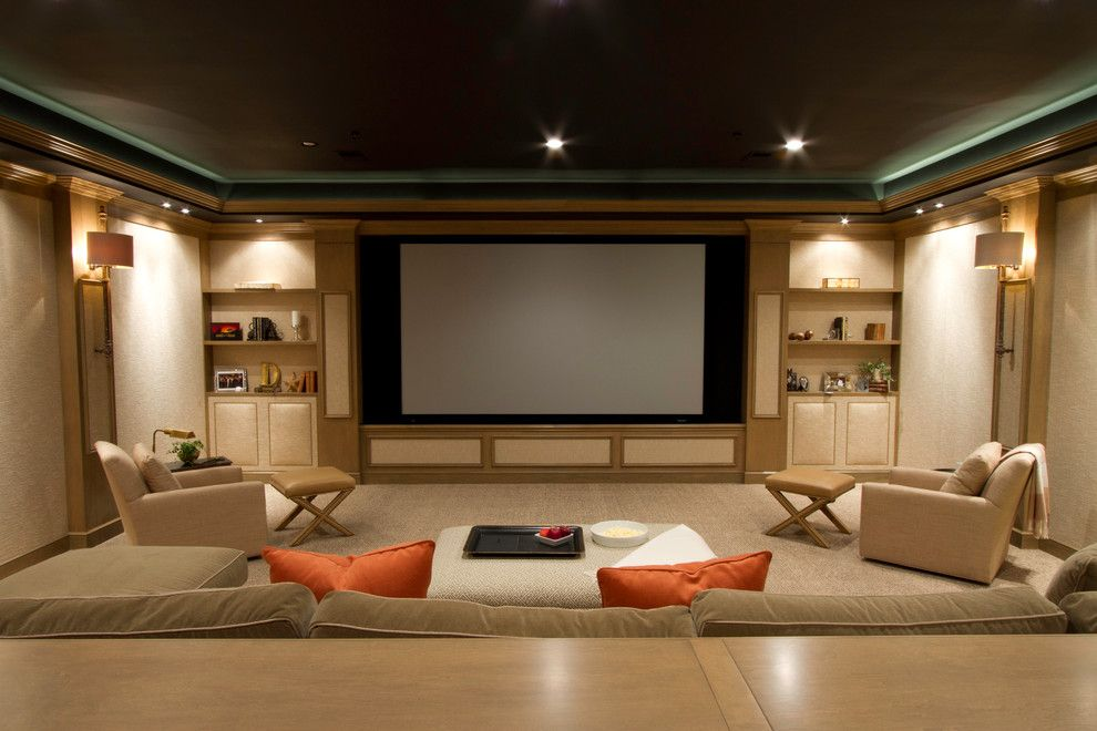 Movies Bethesda for a Contemporary Home Theater with a Beige Ottoman and Media Room by Robert Black 5 Design