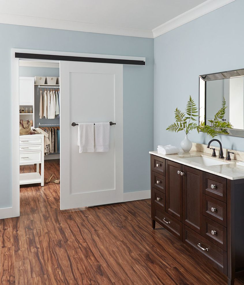 Multi Generational Homes for a Contemporary Bathroom with a Single Vanity and Johnson Hardware by Johnson Hardware