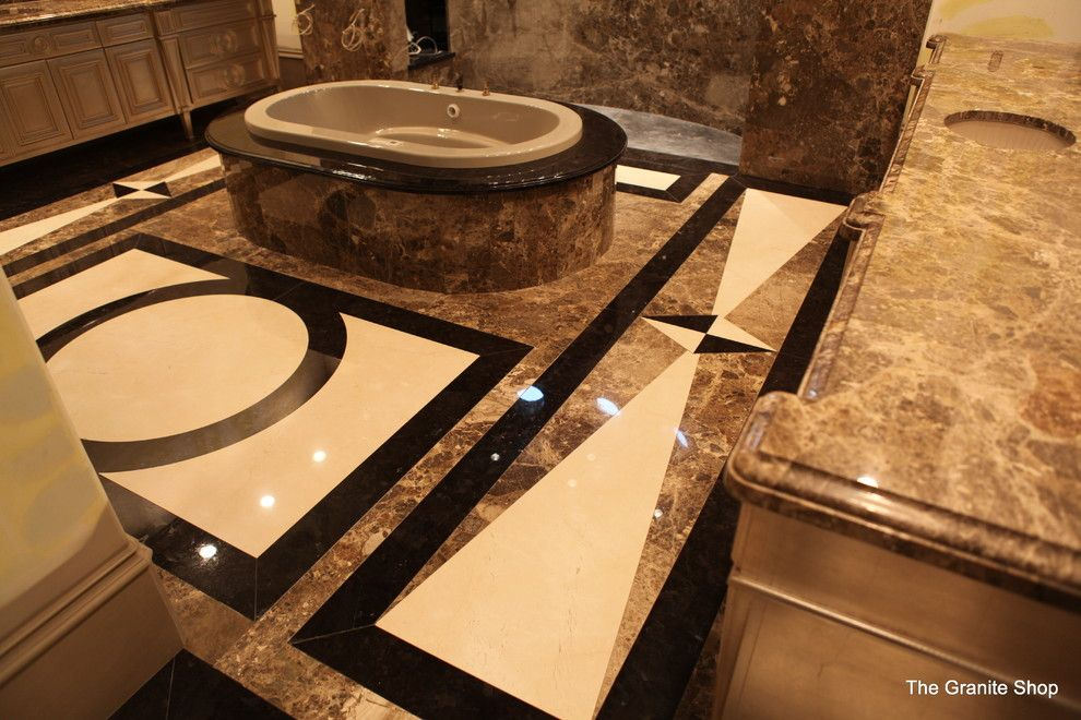 Munire for a Modern Bathroom with a Slab Floor and Modern Slab Bathroom Floor with Design & Slab Shower by the Granite Shop