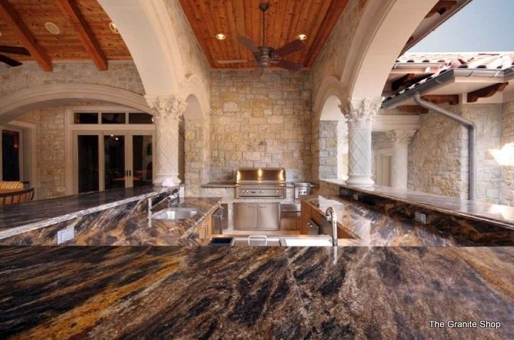Munire for a Traditional Patio with a Golden Lumiere and Golden Lumiere Granite Outdoor Bar by the Granite Shop