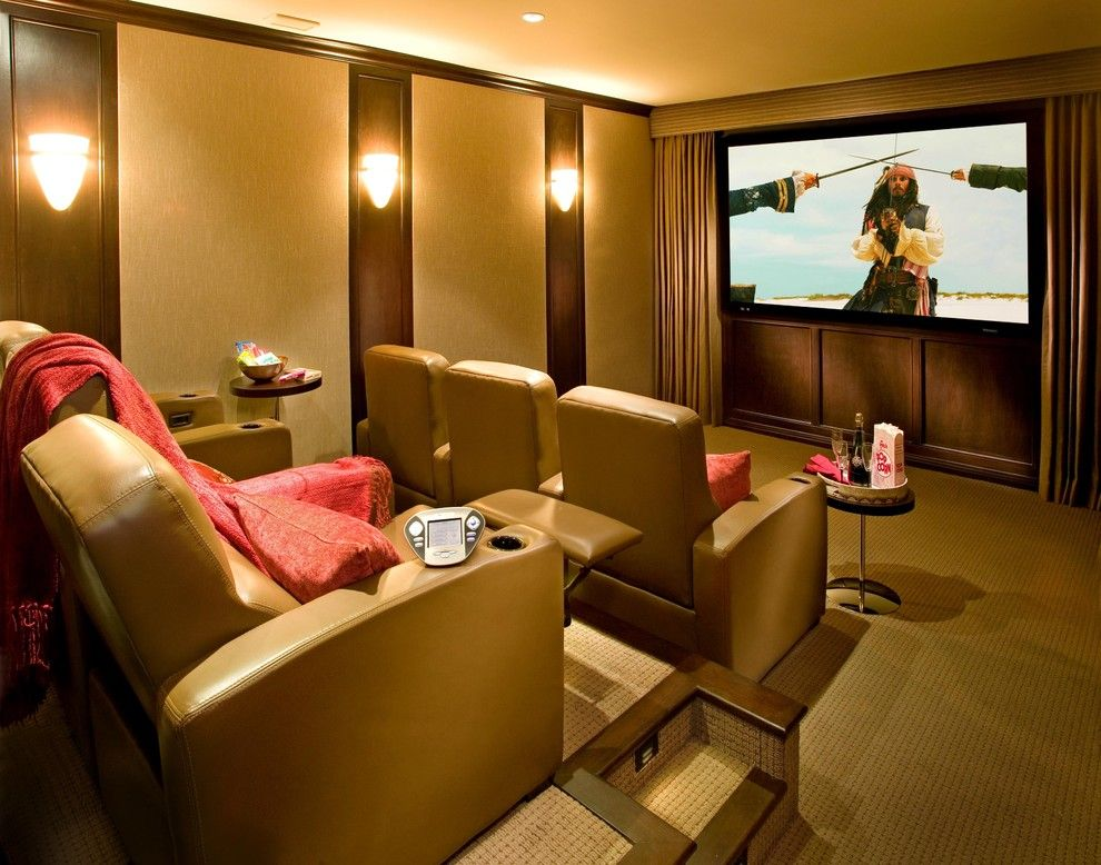 Murfreesboro Movie Theater for a Mediterranean Home Theater with a Leather Recliners and Santa Monica C by Fran Kerzner- DESIGN SYNTHESIS