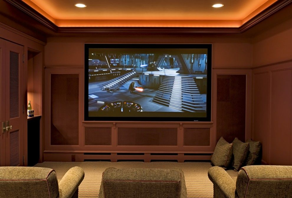 Murfreesboro Movie Theater for a Traditional Home Theater with a Cove Lighting and Media Room by Smith & Vansant Architects Pc