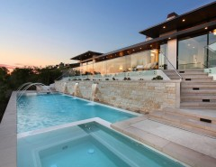 Murrieta Day Spa for a Contemporary Pool with a Night Lighting and Seaside Living: Corona Del Mar, California by Western Window Systems