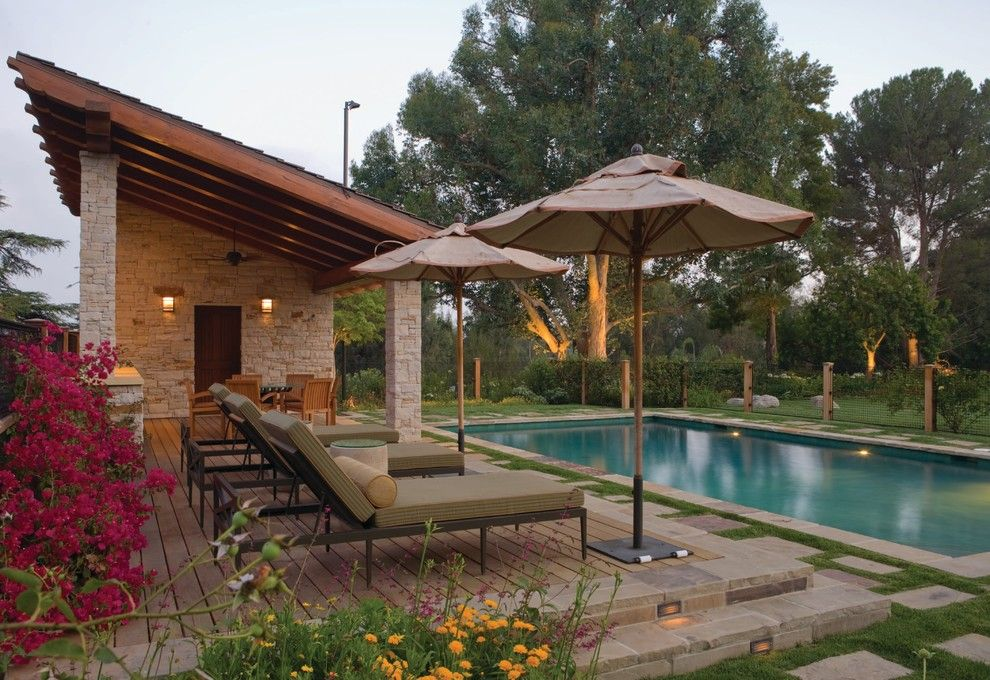 My Gym Encino for a Traditional Pool with a Umbrella and Swimming Pool and Cabana by Jdfields In