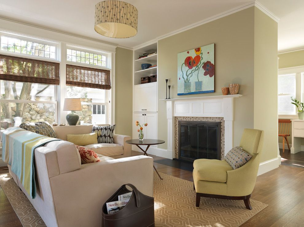 Mythic Paint for a Contemporary Family Room with a Mantel and Family Room by S+H Construction