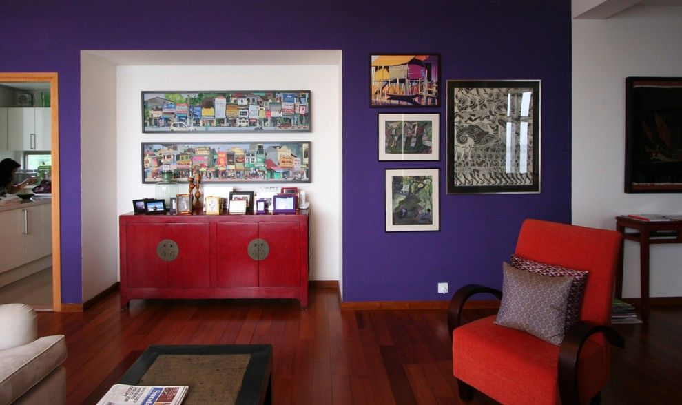Mythic Paint for a Eclectic Living Room with a Artwork and a Little Splash of Color Here & There! by Jar Design