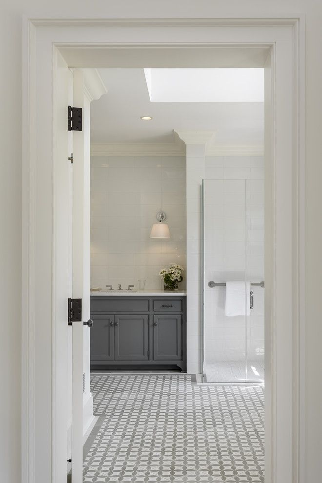 Nanz for a Farmhouse Bathroom with a Wall Sconces and Pool House in the Country by Crisp Architects