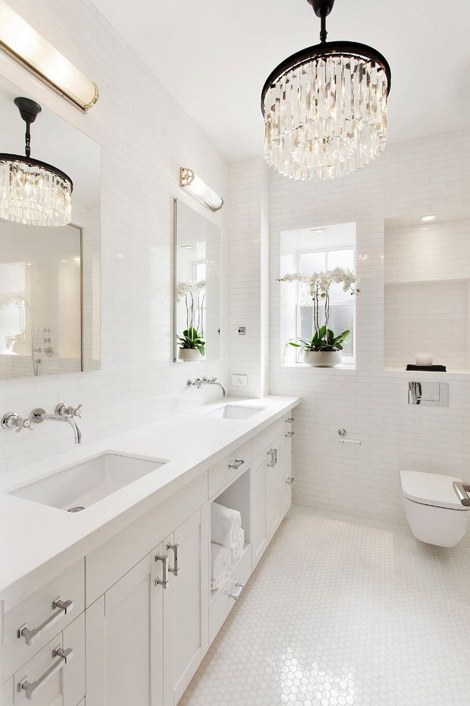 Nanz for a Transitional Bathroom with a Wall Mounted Faucet and Dumbo Apartment by Ins Contractors