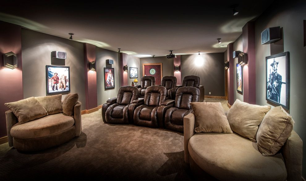 Natick Movie Theater for a Craftsman Home Theater with a Speakers and Covered Bridge by Rezac Construction