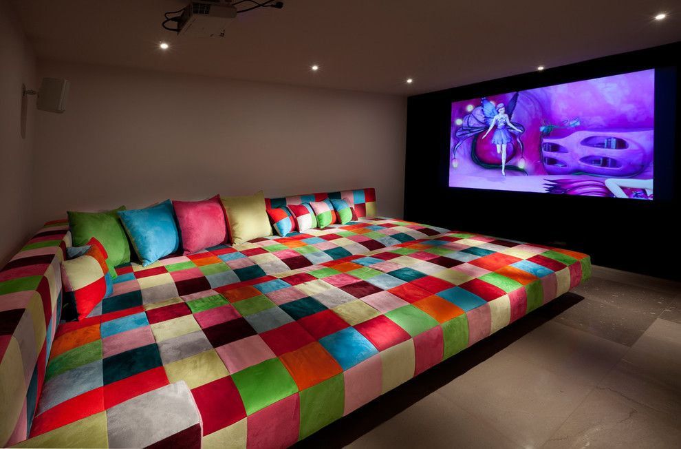 Natick Movie Theater for a Eclectic Home Theater with a Throw Pillows and Media Room by Elad Gonen