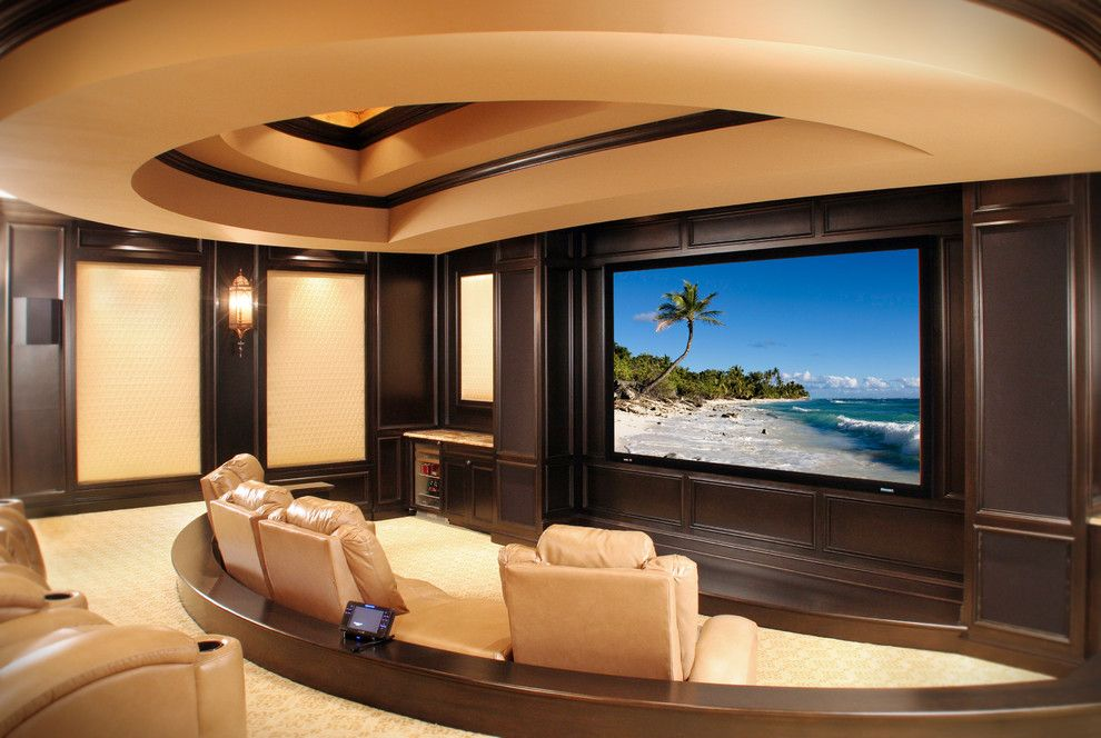 Natick Movie Theater for a Mediterranean Home Theater with a Dark Wood Trim and Norman Residence by Palmieri Builders