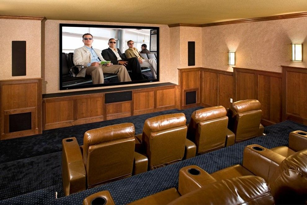 Natick Movie Theater for a Traditional Home Theater with a Blue Carpet and 2008 Halifax Residence by Martha O'hara Interiors