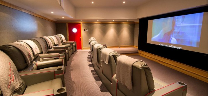 Natick Movie Theater for a Traditional Home Theater with a Historic and Theater Room by Phinney Design Group