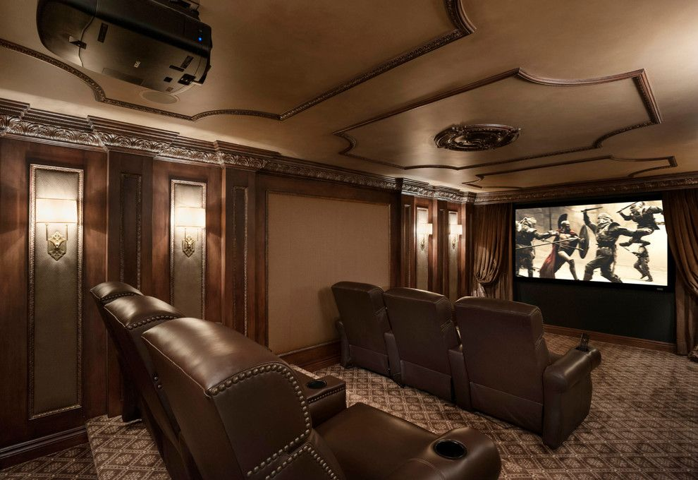 Natick Movie Theater for a Traditional Home Theater with a Theatre Seats and Bloomfield Renovation by Tutto Interiors