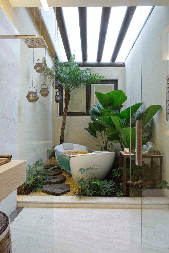 National Tropical Botanical Garden for a Contemporary Bathroom with a Atrium and Bathroom by Eduarda Correa Arquitetura & Interiores
