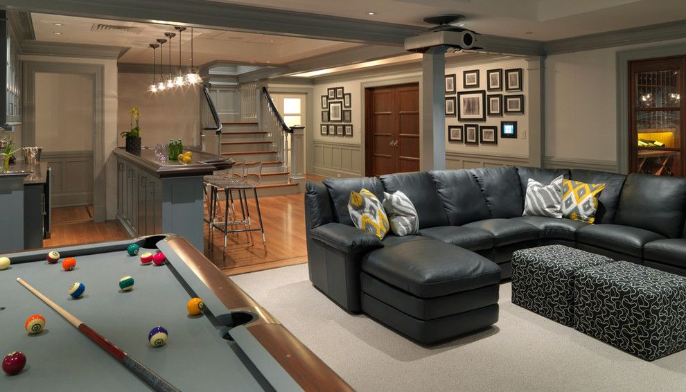 Nba Hardwood Classics for a Traditional Basement with a Billiards and Classical Shingle by Jan Gleysteen Architects, Inc