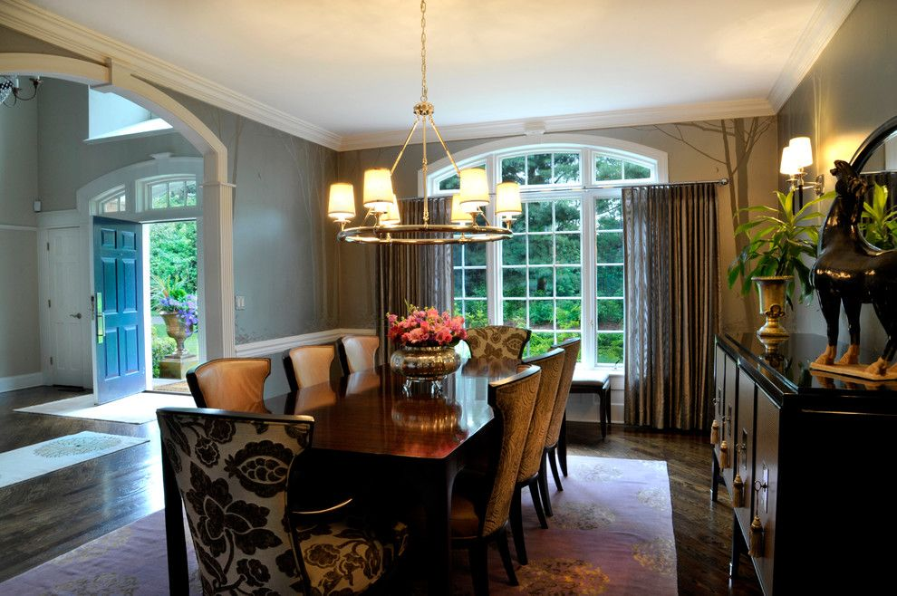 Ne Furniture Mart for a Transitional Dining Room with a Custom Window Treatments and Ny Estate by a Perfect Placement