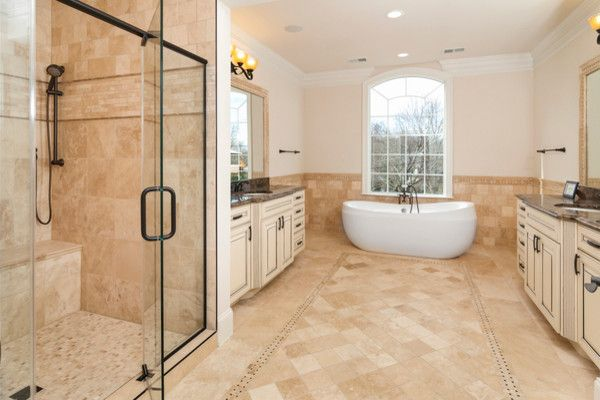 Needham Garden Center for a Modern Bathroom with a Bathroom Floor and Piedmont Ivory Collection   Travertine by Best Tile