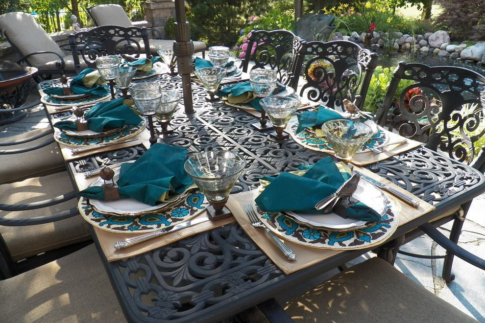 Neiman Marcus Cake for a Mediterranean Patio with a Patio Furniture and Patio Table Set for a Barbeque by Spallina Interiors