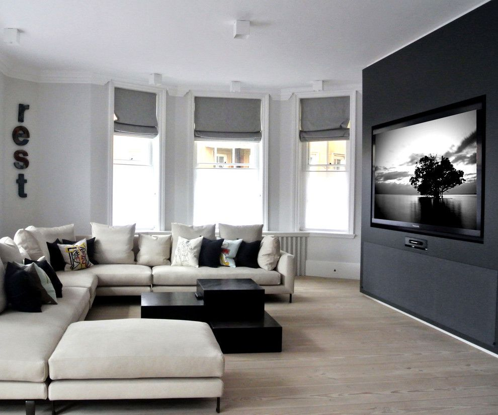 New Braunfels Theater for a Contemporary Living Room with a Home Technology and Wide Screen Luxury by Inspired Dwellings