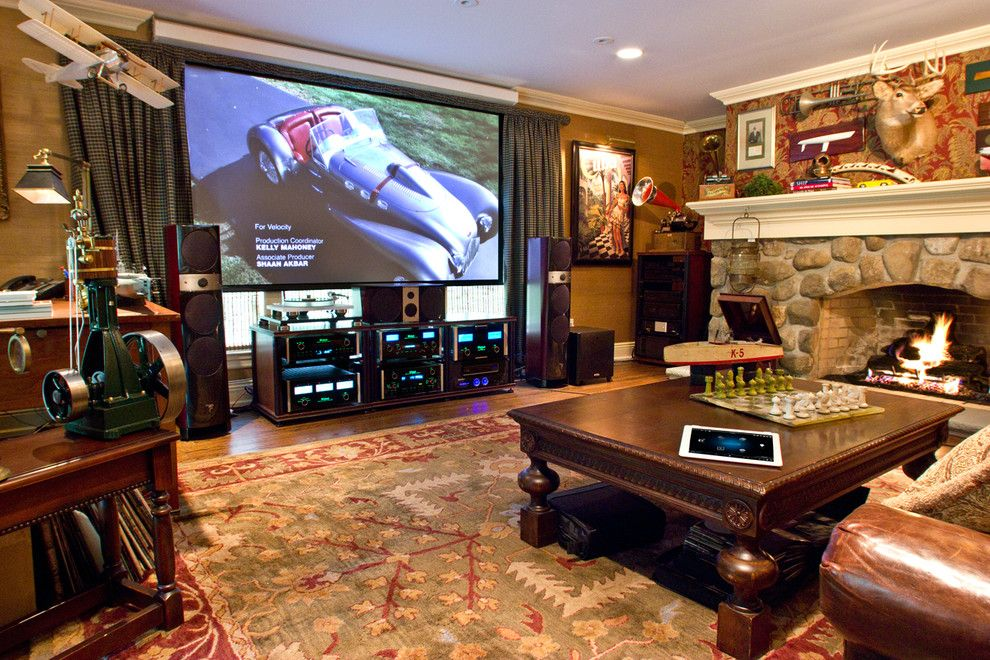 New Braunfels Theater for a Eclectic Home Theater with a Sconces and New Jersey Residence by Cloud9 Smart