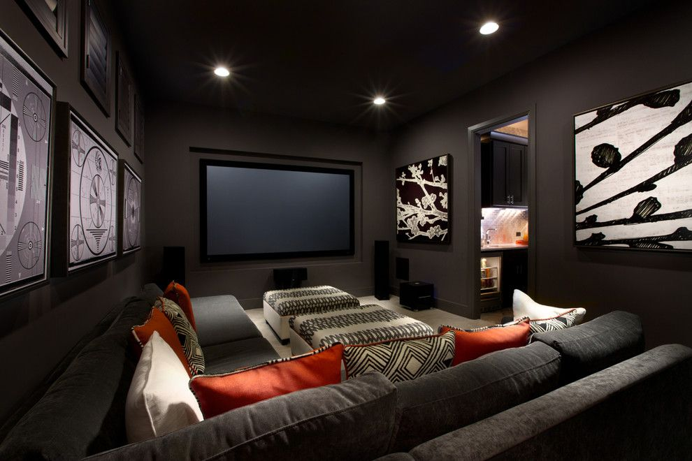 New Canaan Movie Theater for a Contemporary Home Theater with a Contemporary and Monticello Homes 2013 Cibilo Canyon Parade of Homes by Mary Dewalt Design Group