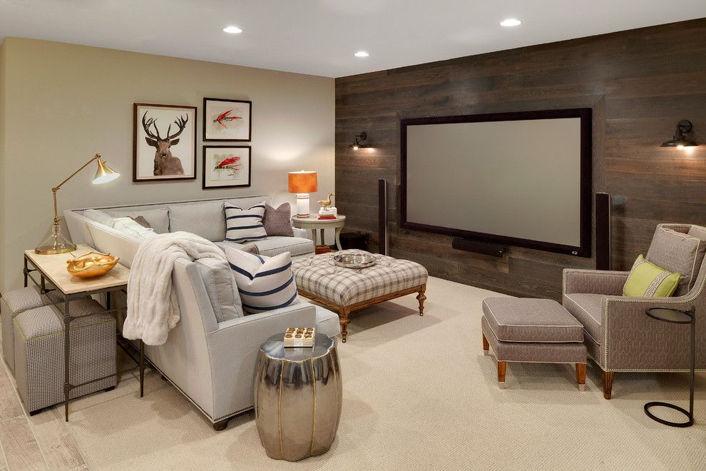 New Canaan Movie Theater for a Rustic Basement with a Sectional and Wayzata Cottage Home   New Construction by Grace Hill Design