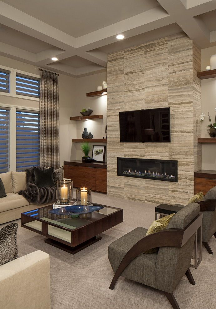 New Orleans Points of Interest for a Contemporary Living Room with a Ribbon Fireplace and Client House by Interiors Joan and Associates