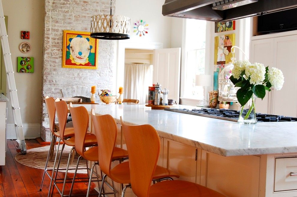 New Orleans Points of Interest for a Eclectic Kitchen with a Whitewashed Brick Fireplace and My Houzz: Eye Candy Colors Fill an 1800s New Orleans Victorian by Corynne Pless